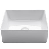 Viva Square Porcelain Ceramic Vessel Bathroom Sink in White Finish, 15-5/8'' W x 15-5/8'' D x 5-1/8'' H