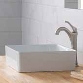 Viva™ Square White Porcelain Ceramic Vessel Bathroom Sink with Pop-Up Drain, 15-5/8''W x 15-5/8''D x 5-1/8''H