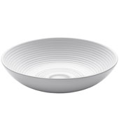 Viva Round Flattened Rippled Interior Porcelain Ceramic Vessel Bathroom Sink in White Finish, 16-1/2'' Diameter x 4-3/8'' H