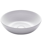 Viva Round Tall Rippled Interior Porcelain Ceramic Vessel Bathroom Sink in White Finish, 13'' Diameter x 4-3/8'' H