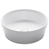 Viva Round Horizontal Rippled Exterior Porcelain Ceramic Vessel Bathroom Sink in White Finish, 15-3/4'' Diameter x 5-3/8'' H