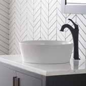 Viva™ Round White Porcelain Ceramic Vessel Bathroom Sink with Pop-Up Drain, 15-3/4''Diameter x 5-3/8''H
