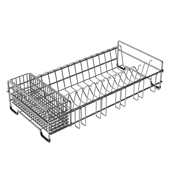 Workstation Kitchen Sink Dish Drying Rack Drainer and Utensil Holder in Stainless Steel, 9'' W x17'' D x 4'' H