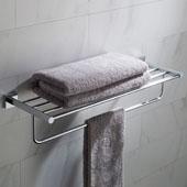 Ventus™ Bathroom Shelf with Towel Bar, Chrome Finish, 25-3/8''W x 8''D x 5-1/4''H