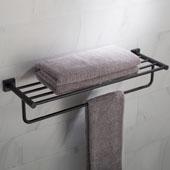 Ventus™ Bathroom Shelf with Towel Bar, Matte Black Finish, 25-3/8''W x 8''D x 5-1/4''H