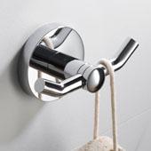 Elie™ Bathroom Robe and Towel Double Hook, Chrome Finish, 3-9/16''W x 1-15/16''D x 2-1/16''H