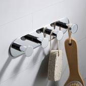 Elie™ Bathroom Robe and Towel Hook Rack with 4 Hooks, Chrome Finish, 9-1/16''W x 1-9/16''D x 1-15/16''H