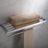 Stelios™ Bathroom Shelf with Towel Bar, Chrome Finish, 24-5/8''W x 7-7/8''D x 4-9/16''H