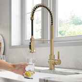 KRAUS Britt™ 2-in-1 Commercial Style Pull-Down Single Handle Water Filter Kitchen Faucet for Reverse Osmosis or Water Filtration System in Brushed Gold, Faucet Height: 22'' H, Spout Height: 5-3/4'' H, Spout Reach: 8-1/2'' D