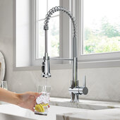 KRAUS Britt™ 2-in-1 Commercial Style Pull-Down Single Handle Water Filter Kitchen Faucet for Reverse Osmosis or Water Filtration System in Chrome, Faucet Height: 22'' H, Spout Height: 5-3/4'' H, Spout Reach: 8-1/2'' D