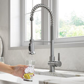 KRAUS Britt™ 2-in-1 Commercial Style Pull-Down Single Handle Water Filter Kitchen Faucet for Reverse Osmosis or Water Filtration System in Spot Free Stainless Steel, Faucet Height: 22'' H, Spout Height: 5-3/4'' H, Spout Reach: 8-1/2'' D
