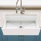 Turino™ Reversible 33'' Fireclay Farmhouse Single Bowl Kitchen Sink with Bottom Grid, Gloss White