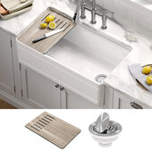 KRAUS Turino™ Workstation 33'' W Farmhouse Reversible Apron Front Fireclay Single Bowl Kitchen Sink with Accessories in Gloss White, 33'' W x 18-1/8'' D x 10'' Bowl Depth