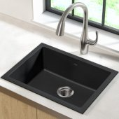 KRS-KGD-410B, 24'' Dual Mount Single Bowl Black Onyx Granite Kitchen Sink
