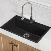 KRS-KGD-412B, 30-3/4'' Dual Mount Single Bowl Black Onyx Granite Kitchen Sink