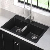 KRS-KGD-433B, 33'' Dual Mount 50/50 Double Bowl Black Onyx Granite Kitchen Sink