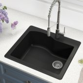 Quarza™ 25'' Dual Mount Single Bowl Granite Kitchen Sink in Black, 25'' W x 22'' D x 9-1/2'' H