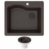 Quarza 25'' Dual Mount Single Bowl Granite Kitchen Sink and Strainer in Brown, 25'' W x 22'' D x 9-1/2'' H