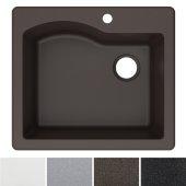 Quarza™ 25'' Dual Mount Single Bowl Granite Kitchen Sink in Brown, 25'' W x 22'' D x 9-1/2'' H