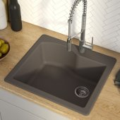 Quarza™ 25'' Dual Mount Single Bowl Granite Kitchen Sink in Brown, 25'' W x 22'' D x 9-1/2'' H