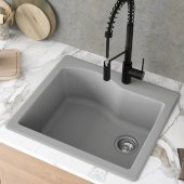 Quarza™ 25'' Dual Mount Single Bowl Granite Kitchen Sink in Grey, 25'' W x 22'' D x 9-1/2'' H