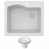 Quarza 25'' Dual Mount Single Bowl Granite Kitchen Sink and Strainer in White, 25'' W x 22'' D x 9-1/2'' H