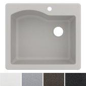 Quarza™ 25'' Dual Mount Single Bowl Granite Kitchen Sink in White, 25'' W x 22'' D x 9-1/2'' H
