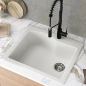 Quarza™ 25'' Dual Mount Single Bowl Granite Kitchen Sink in White, 25'' W x 22'' D x 9-1/2'' H
