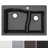 Quarza™ 33'' Dual Mount 60/40 Double Bowl Granite Kitchen Sink in Black, 33'' W x 22'' D x 10-3/4'' H