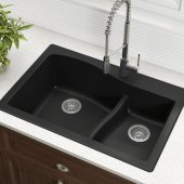 Quarza™ 33'' Dual Mount 60/40 Double Bowl Granite Kitchen Sink in Black, 33'' W x 22'' D x 10-3/4'' H