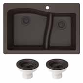 Quarza 33'' Dual Mount 60/40 Double Bowl Granite Kitchen Sink and Strainers in Brown, 33'' W x 22'' D x 10-3/4'' H