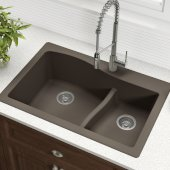 Quarza™ 33'' Dual Mount 60/40 Double Bowl Granite Kitchen Sink in Brown, 33'' W x 22'' D x 10-3/4'' H