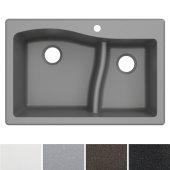 Quarza™ 33'' Dual Mount 60/40 Double Bowl Granite Kitchen Sink in Grey, 33'' W x 22'' D x 10-3/4'' H