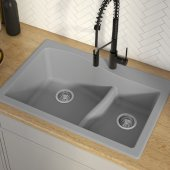 Quarza™ 33'' Dual Mount 60/40 Double Bowl Granite Kitchen Sink in Grey, 33'' W x 22'' D x 10-3/4'' H