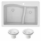 Quarza 33'' Dual Mount 60/40 Double Bowl Granite Kitchen Sink and Strainers in White, 33'' W x 22'' D x 10-3/4'' H