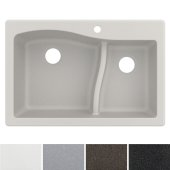 Quarza™ 33'' Dual Mount 60/40 Double Bowl Granite Kitchen Sink in White, 33'' W x 22'' D x 10-3/4'' H