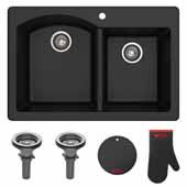 "Forteza™ 33"" Dual Mount 60/40 Double Bowl Granite Kitchen Sink in Grey"