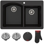 "Forteza™ 33"" Dual Mount 60/40 Double Bowl Granite Kitchen Sink in Black"
