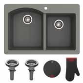 "Forteza™ 33"" Dual Mount 60/40 Double Bowl Granite Kitchen Sink in Black"