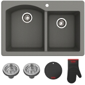 "Forteza™ 33"" Dual Mount 60/40 Double Bowl Granite Kitchen Sink in Grey"