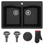 "Forteza™ 33"" Dual Mount 50/50 Double Bowl Granite Kitchen Sink in Black"