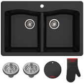 "Forteza™ 33"" Dual Mount 50/50 Double Bowl Granite Kitchen Sink in Black"