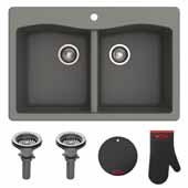 "Forteza™ 33"" Dual Mount 50/50 Double Bowl Granite Kitchen Sink in Grey"