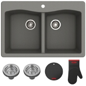 "Forteza™ 33"" Dual Mount 50/50 Double Bowl Granite Kitchen Sink in Grey"