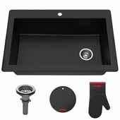 "Forteza™ 33"" Dual Mount Single Bowl Black Granite Kitchen Sink in Black"