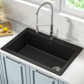 "Forteza™ 33"" Dual Mount Single Bowl Black Granite Kitchen Sink in Black"