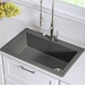"Forteza™ 33"" Dual Mount Single Bowl Granite Kitchen Sink in Grey"