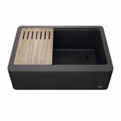 Bellucci™ 30'' CeramTek™ Farmhouse Flat Apron Front Single Bowl Kitchen Sink with Cutting Board, Granite Quartz Composite, Black