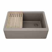 Bellucci™ 30'' CeramTek™ Farmhouse Flat Apron Front Single Bowl Kitchen Sink with Cutting Board, Granite Quartz Composite, Brown