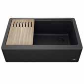 Bellucci™ 33'' CeramTek™ Farmhouse Flat Apron Front Single Bowl Kitchen Sink with Cutting Board, Granite Quartz Composite, Black